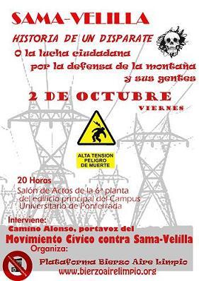 Ponferrada: Bierzo Aire Limpio organiza un acto de apoyo al Movimiento Cívico contra el proyecto Sama-Velilla (02/10/09).