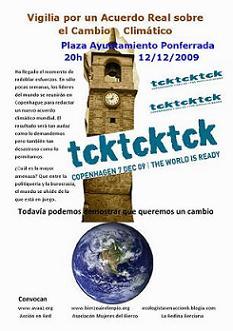 Ecologistas en Acción del Bierzo se une a la vigilia de todo el mundo contra el cambio climático (9/12/09).